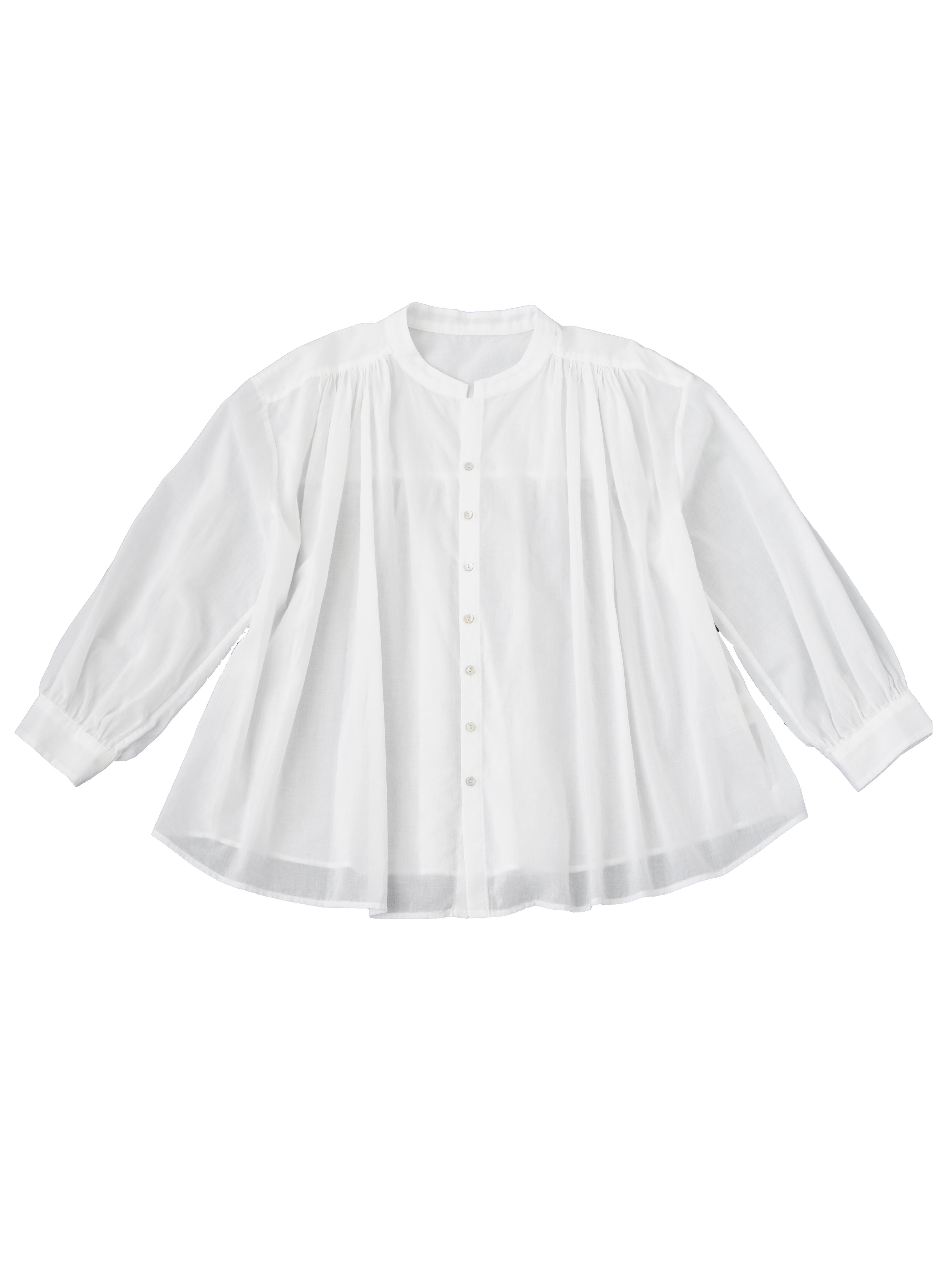 80/ローンパフィウォッシュスタンド襟ギャザーシャツ