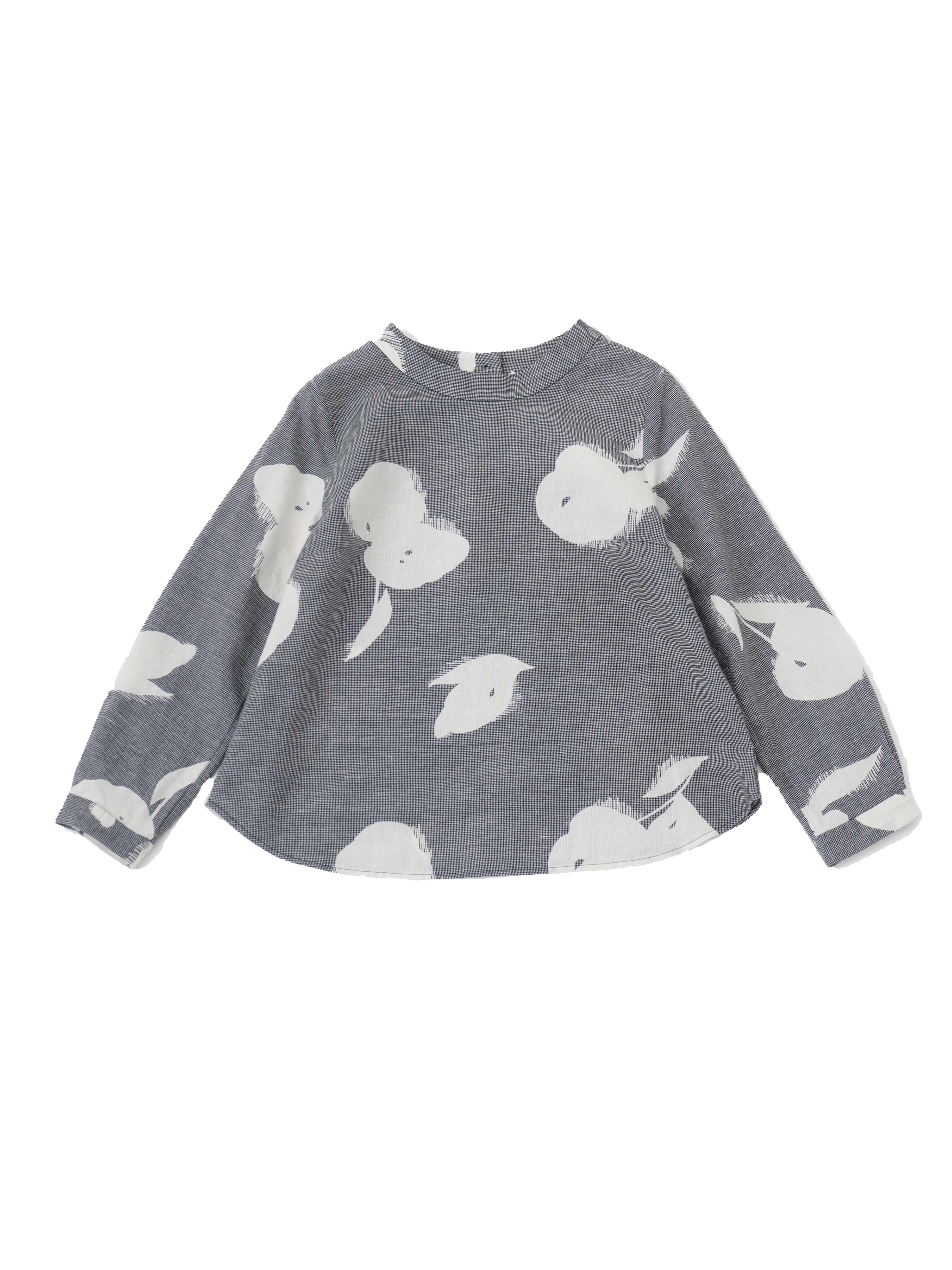 コットンリネン千鳥沙羅の木スタンド襟プルオーバーシャツ
