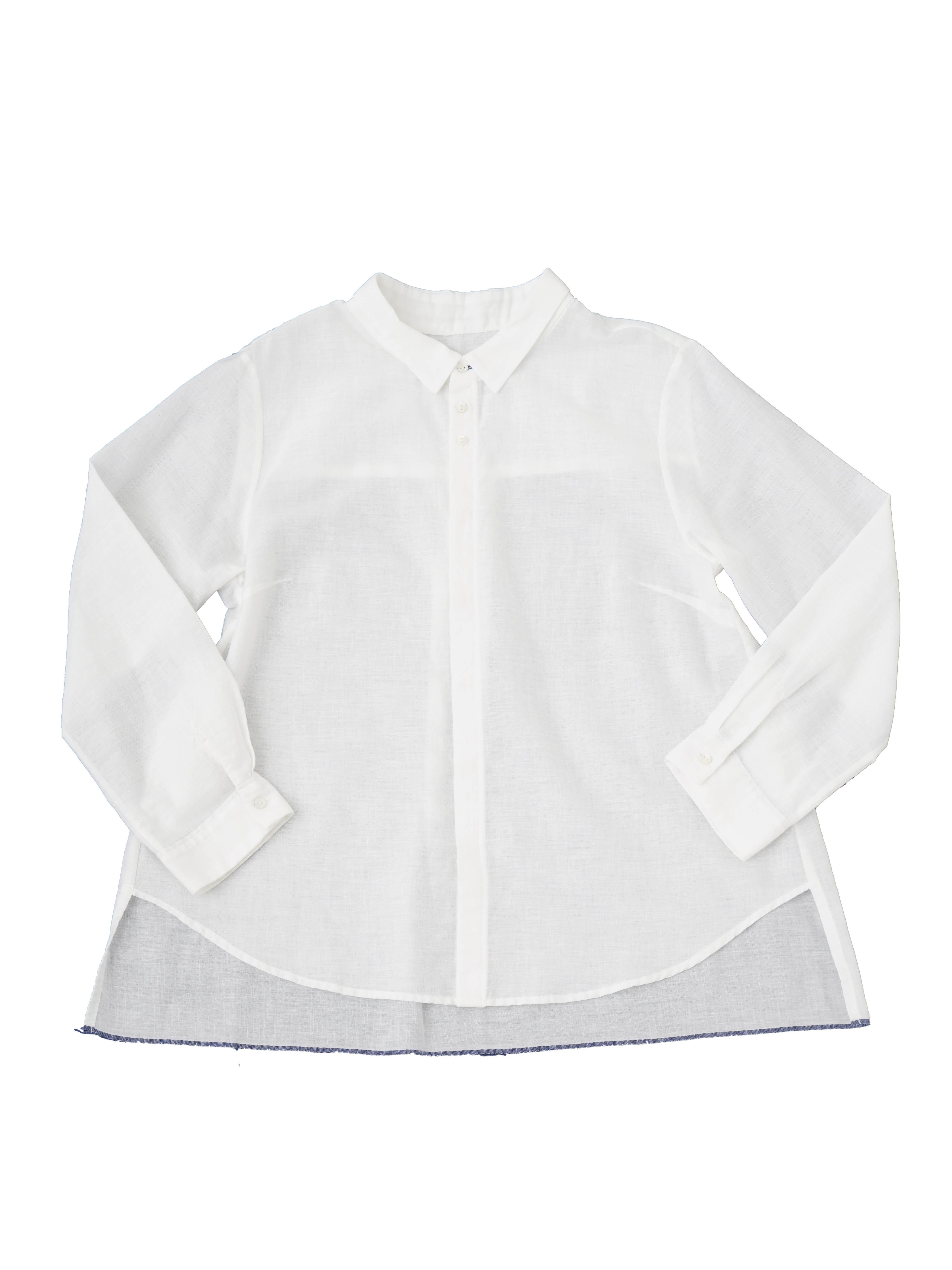 PP38.5白ガーゼオーバー8分袖シャツ