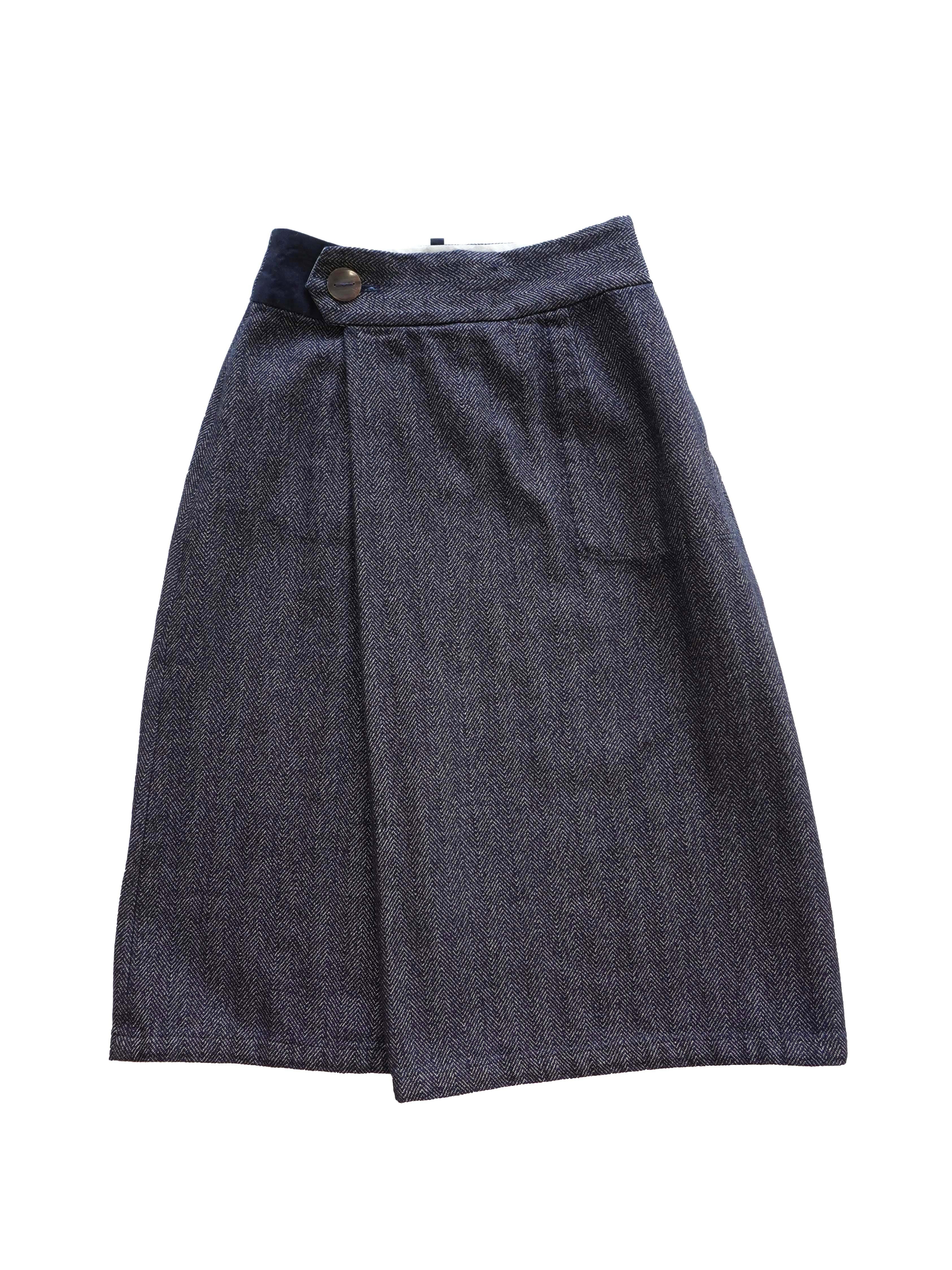 インディゴ撚り杢ヘリンボンラップスカート