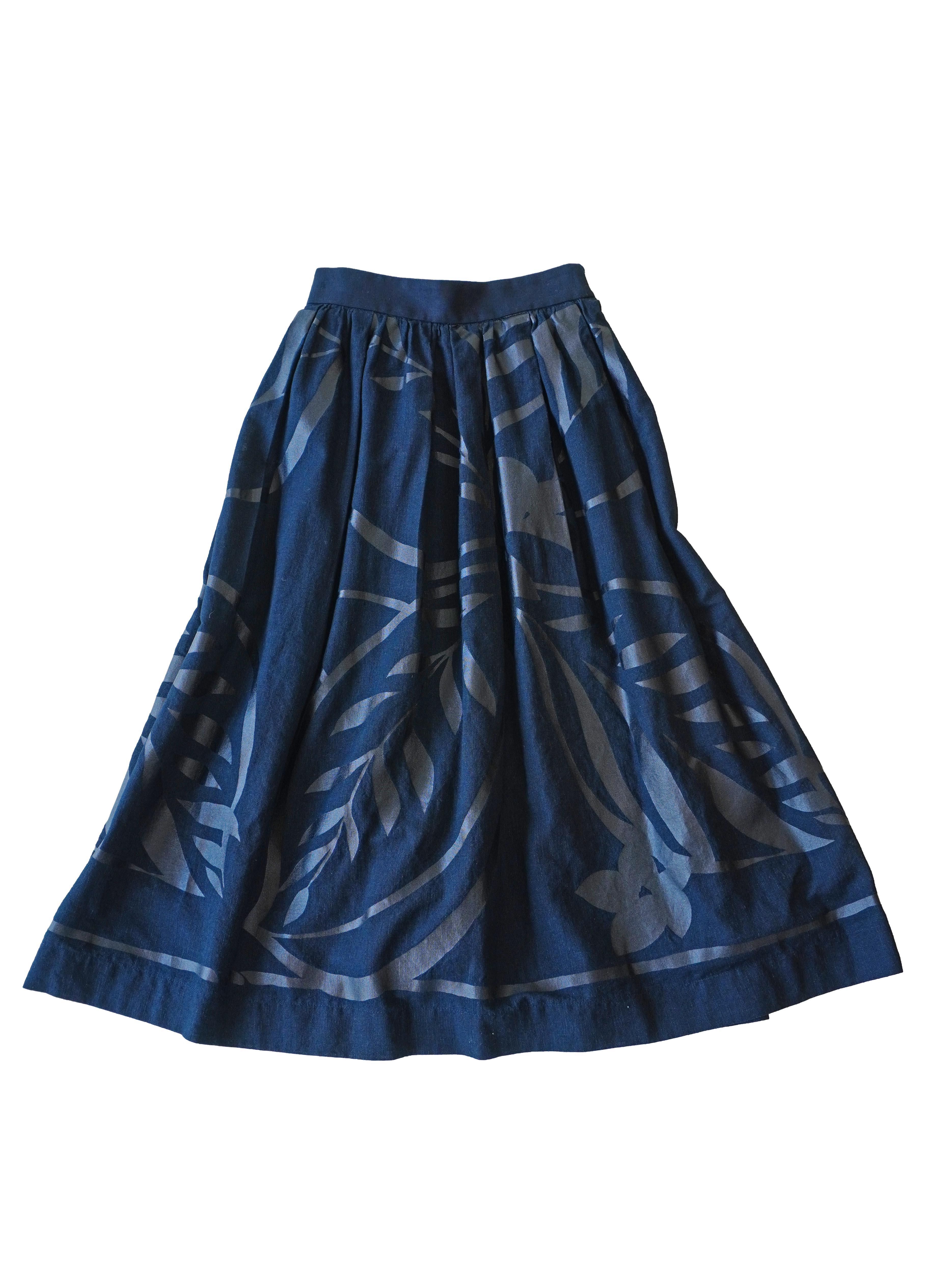 インディゴガーゼ藍の葉柄タックギャザースカート
