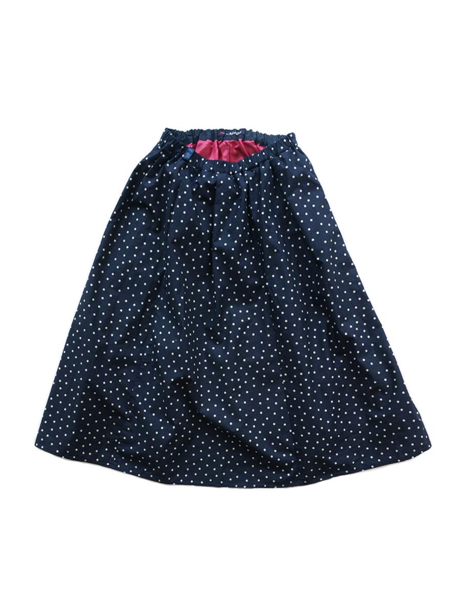 インディゴハイカウントチノ ドット柄タックギャザースカート