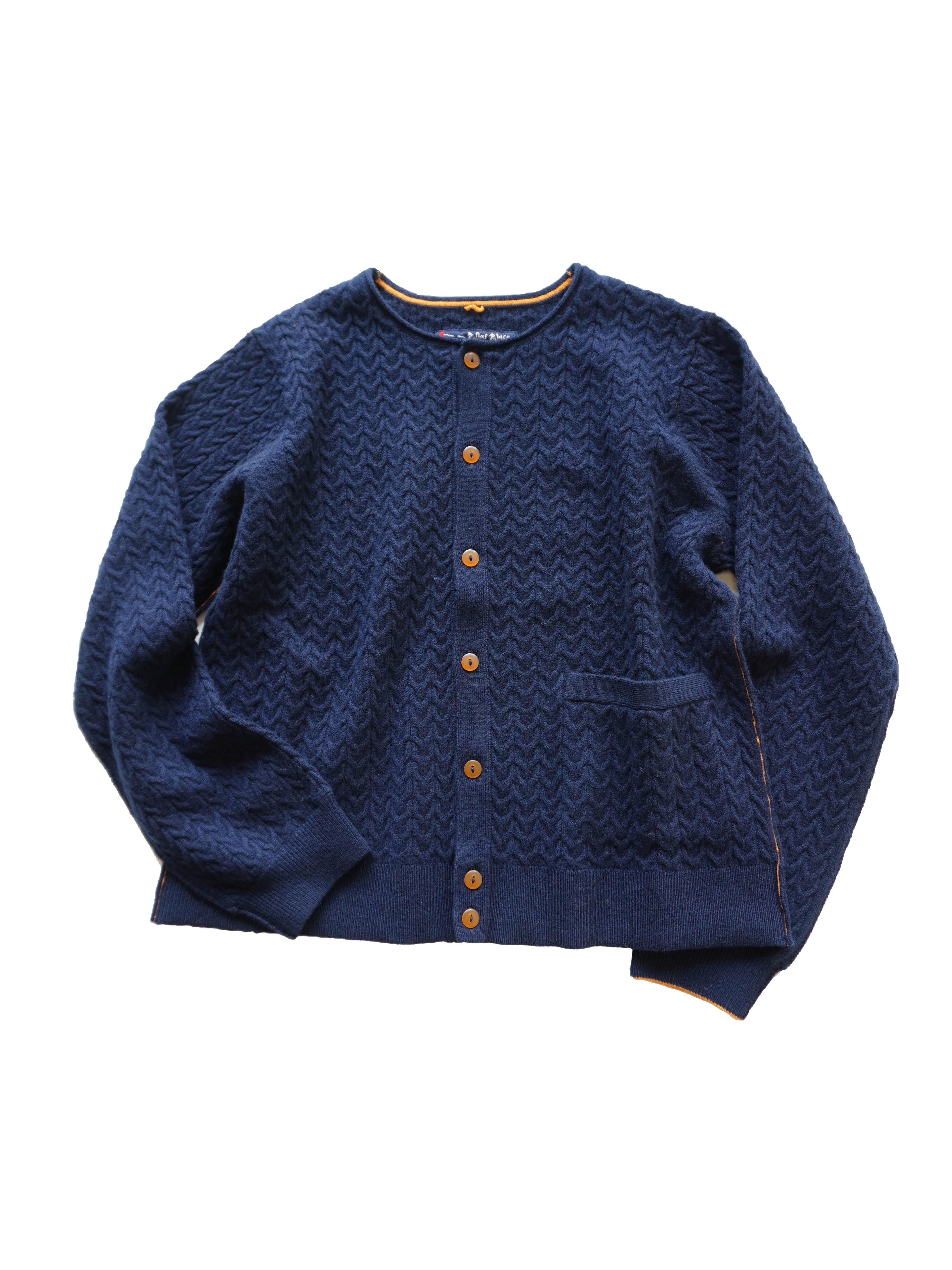 メリノウールケーブル編みカーディガン