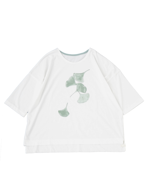 30/ソフト天竺銀杏プリントTシャツ