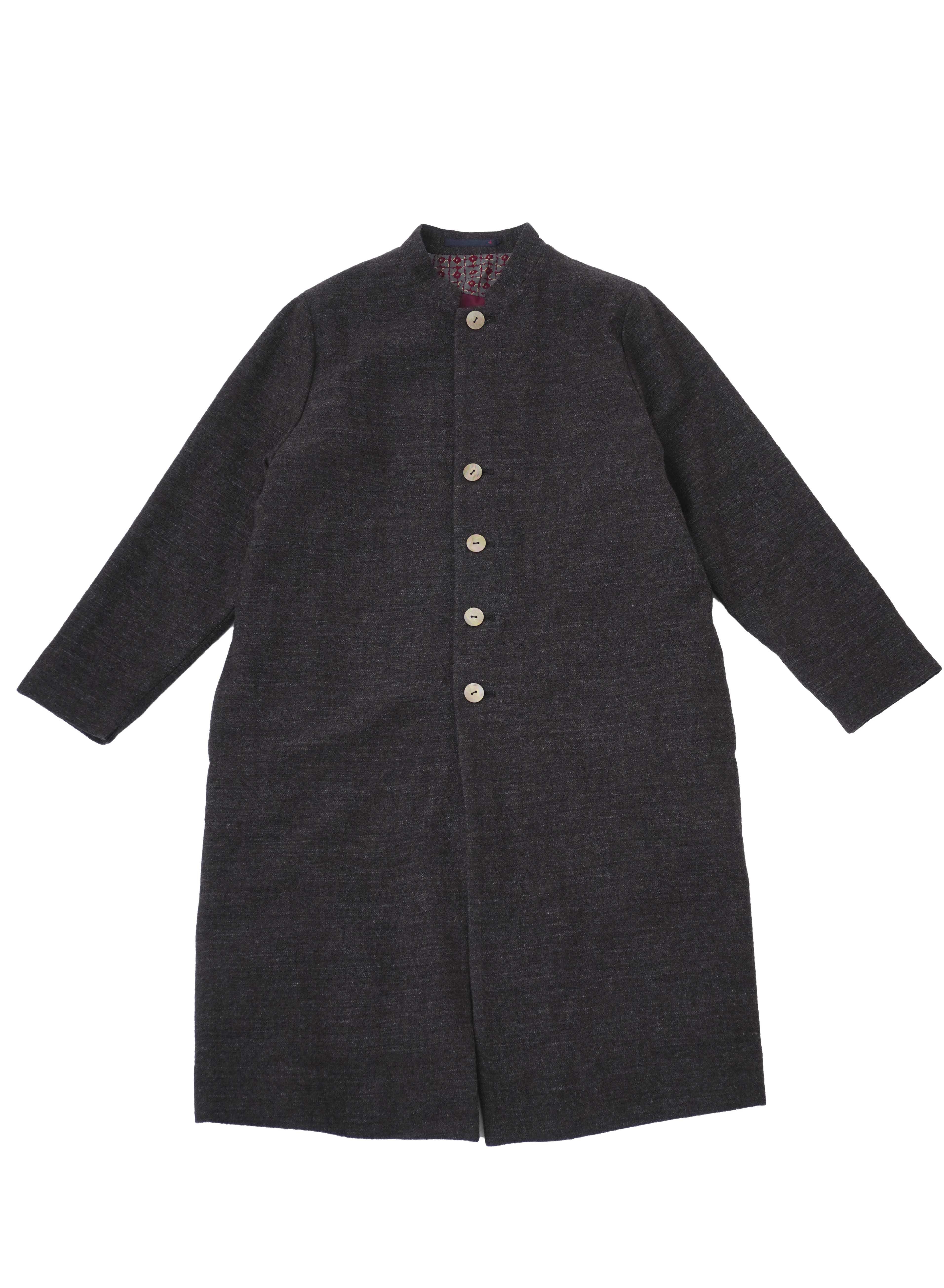 ウールリネンリファインスタンド襟コート