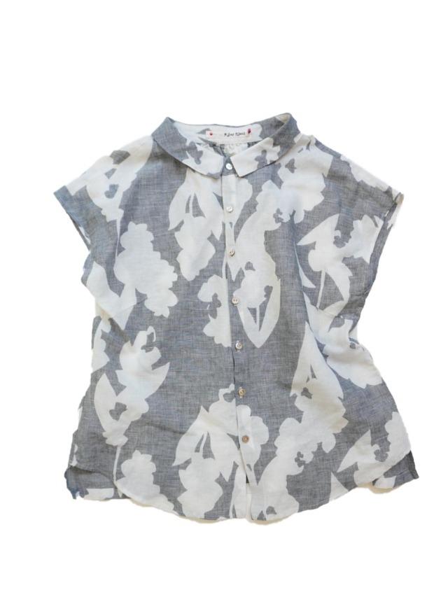 コットンリネン絣紫丁香花柄シャツ