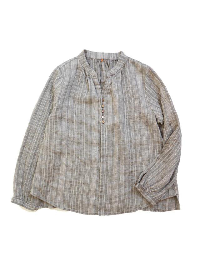 ドビーボーダースタンド衿ギャザーシャツ