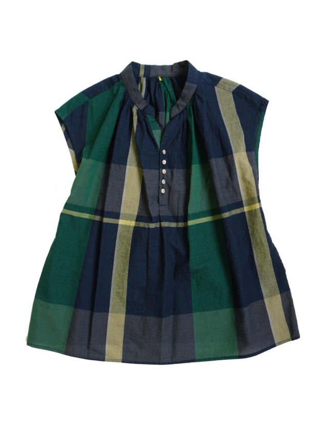 インディゴガーゼチェックスタンド衿シャツ