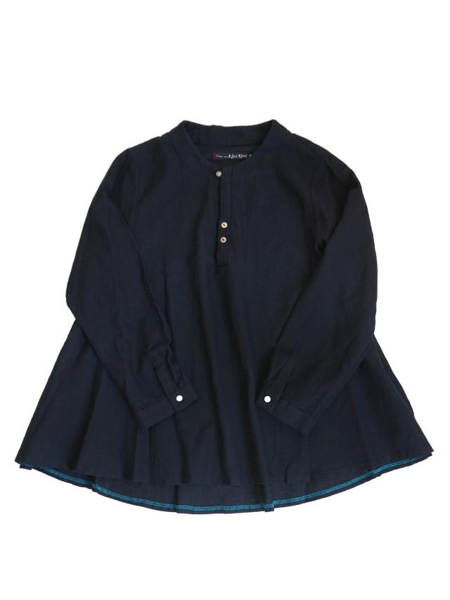 インディゴガーゼボトル衿フレアーシャツ