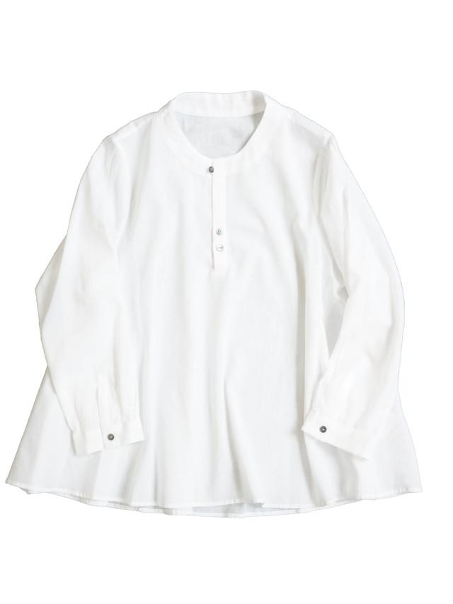 ワッシャーガーゼボトル衿フレアシャツ