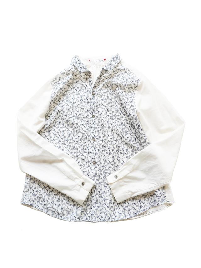 ローン瓜草柄刺繍ちび衿シャツ