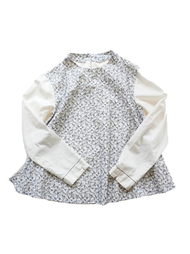 ローン瓜草柄刺繍ボトル衿シャツ