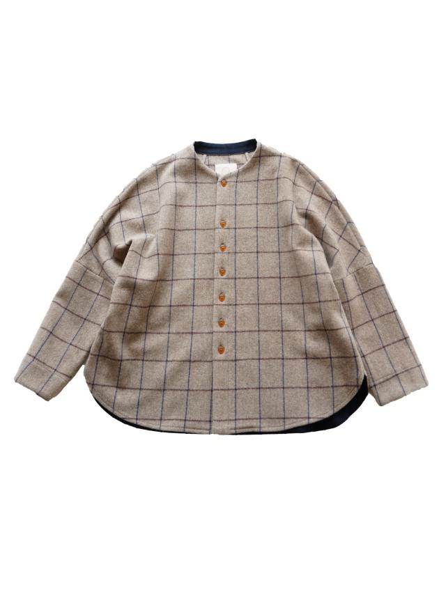 パウダーウールペンチェックボトル衿ドルマンシャツ