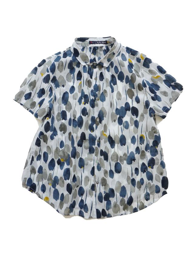 ローン雨百合柄ショート袖シャツ