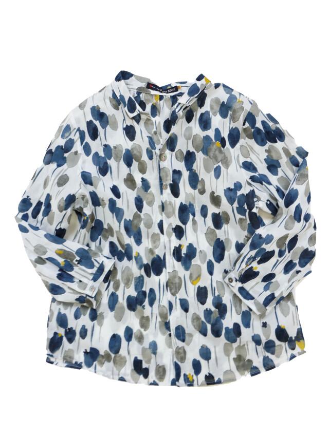 ローン雨百合柄7分袖シャツ