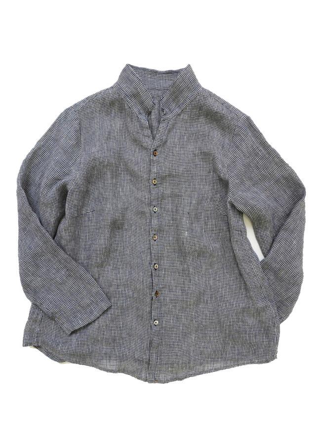 リネンガーゼチドリ2枚衿シャツ