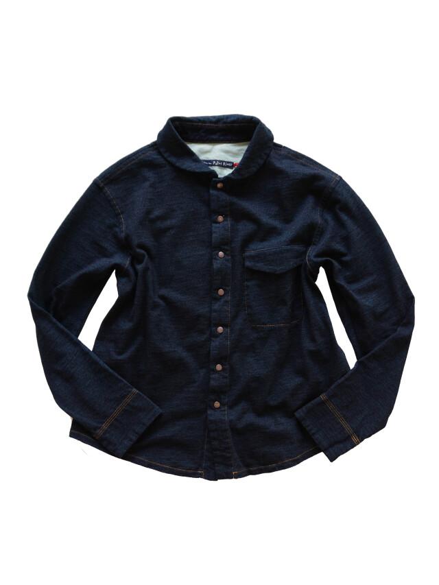 インディゴ天竺丸衿シャツ