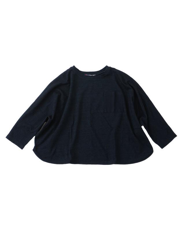 インディゴ天竺7分袖Tシャツ