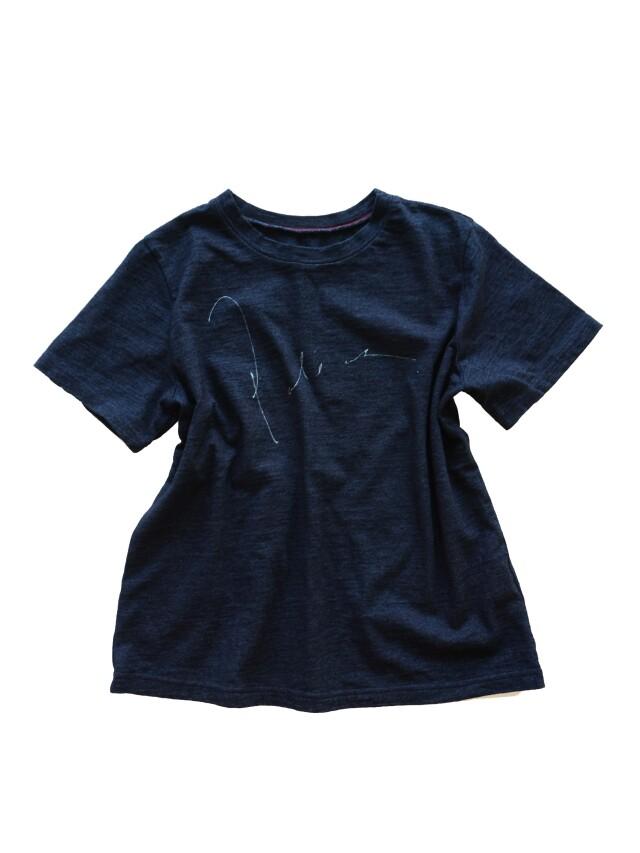 インディゴ天竺パラスロゴ抜染プリントTシャツ