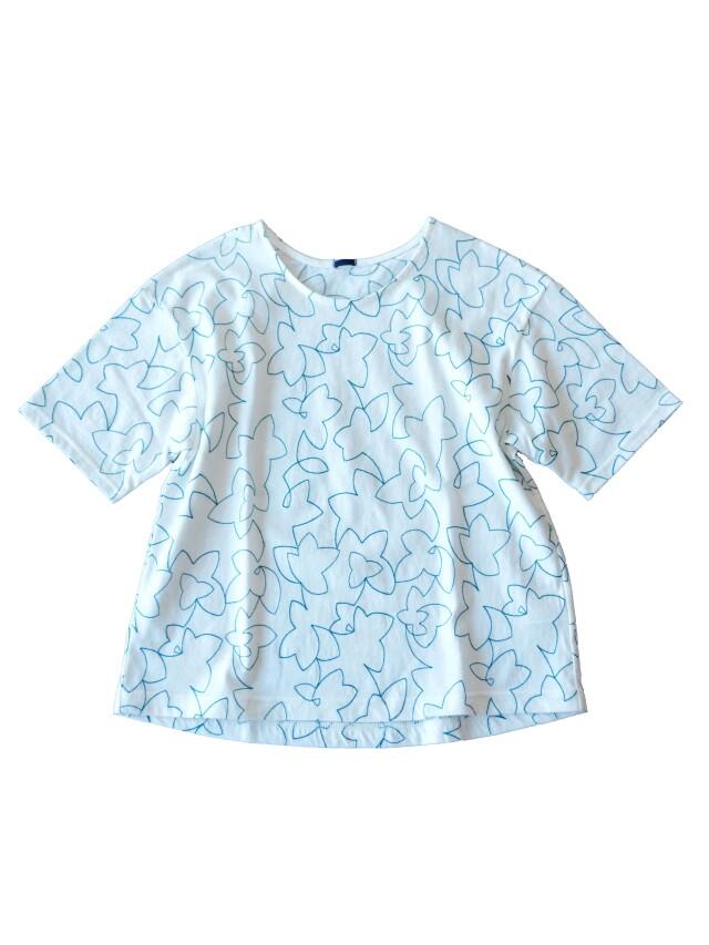 30/天竺白八汐柄刺繍五分袖Tシャツ