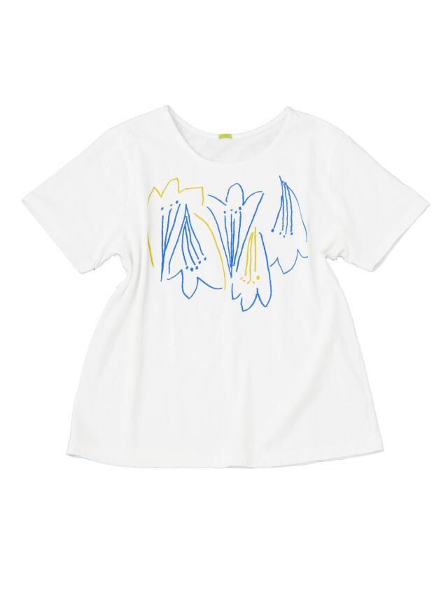 ラフィ天竺紺百合柄プリントTシャツ