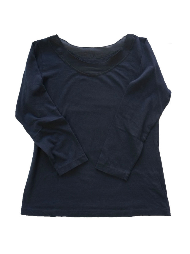 製品染め7分袖Tシャツ