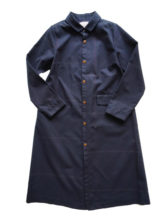 斜文織裏チェックシャツコート