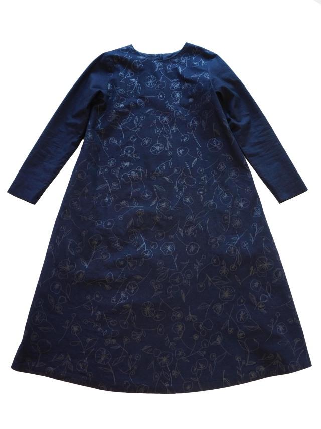 インディゴ平織冬菊柄コンビワンピース