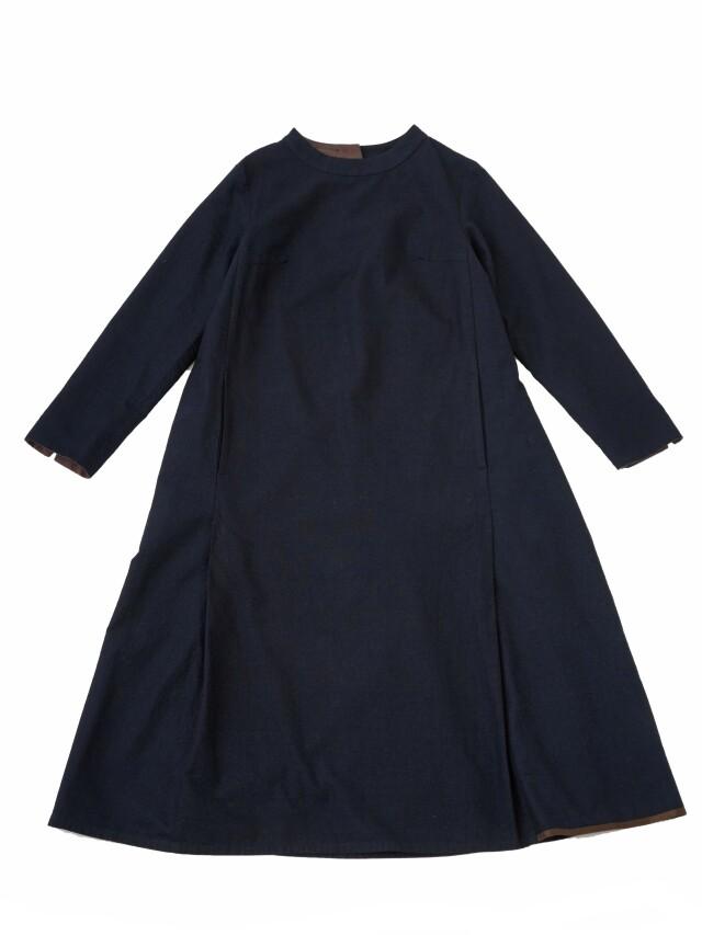 インディゴ平織スタンド襟ワンピース
