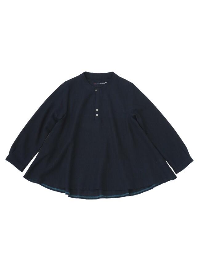 インディゴガーゼボトル襟フレアーシャツ