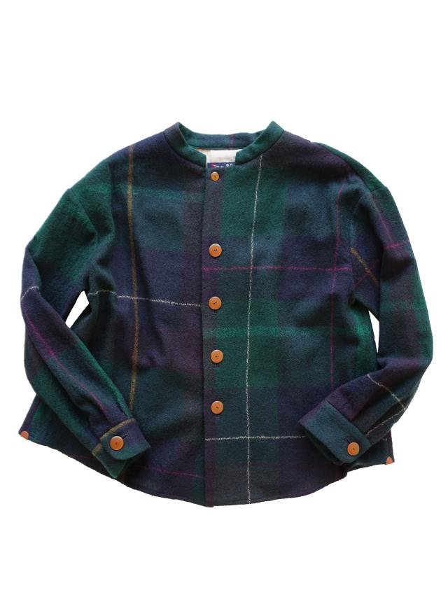ウールチェックスタンド衿オーバーシャツ