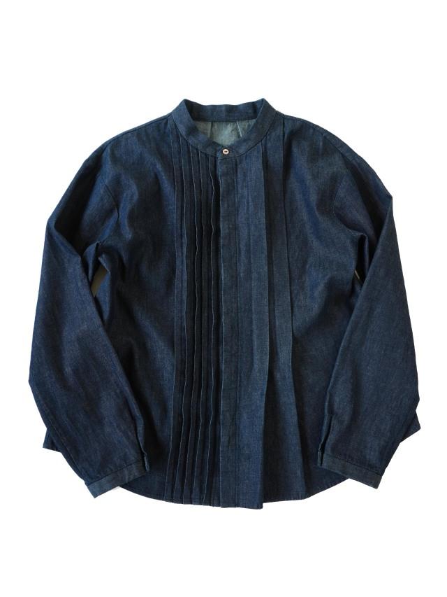 ムラ糸ダンガリーアシンメトリータックシャツ