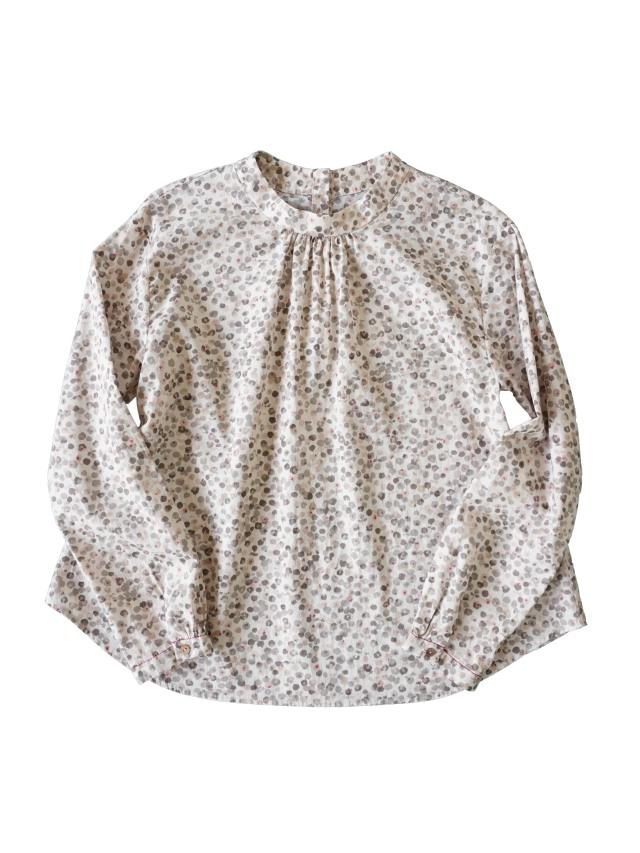 ローン花かたばみ柄スタンド衿シャツ