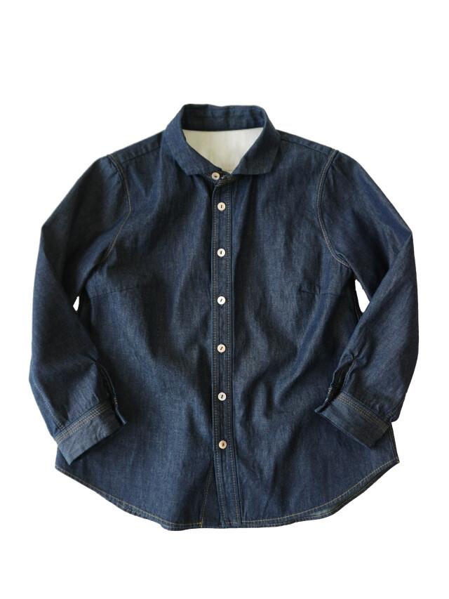 ムラ糸ダンガリーウィング衿シャツ