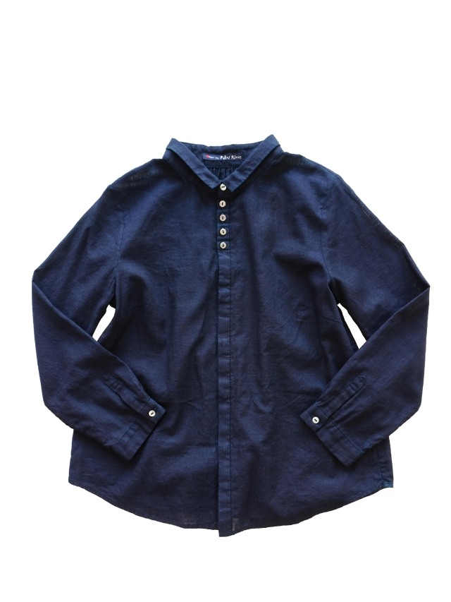 PP38.5インディゴガーゼワイド衿シャツ