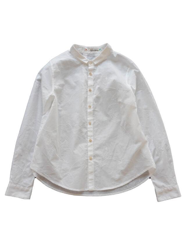 ローン山瑠璃草柄刺繍シャツ