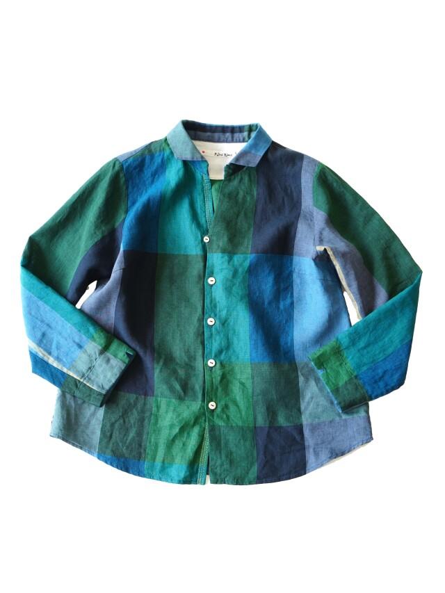 リネンチェックシャツ