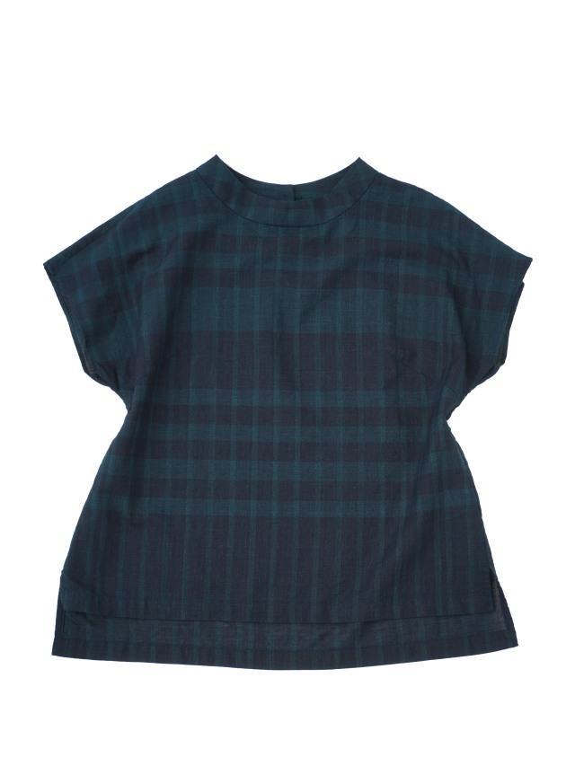 夏の38.5インディゴチェックスタンド衿シャツ