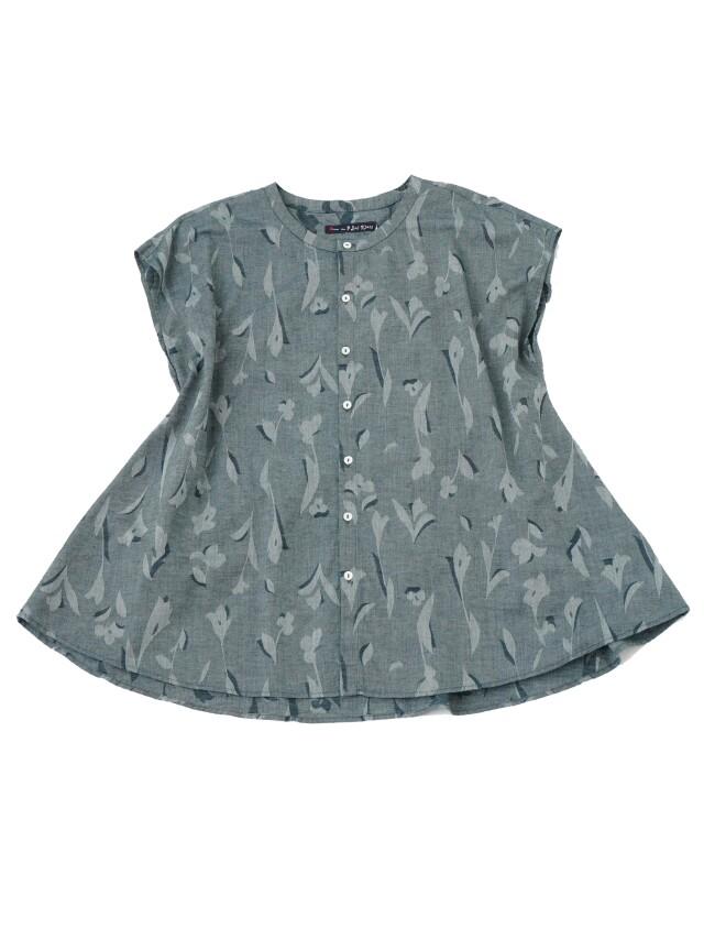 インディゴ夏茱萸ジャガードバンドカラーシャツ