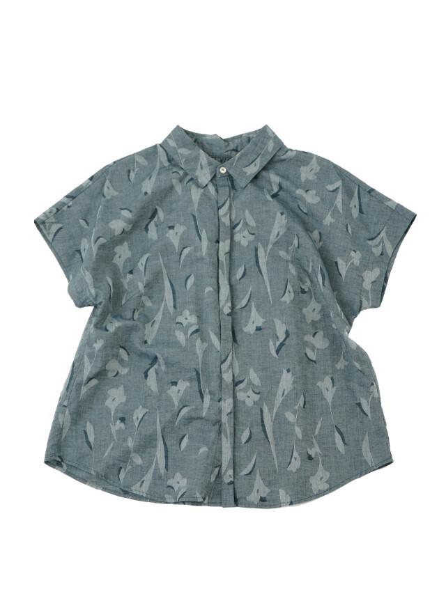 インディゴ夏茱萸ジャガードショート袖シャツ