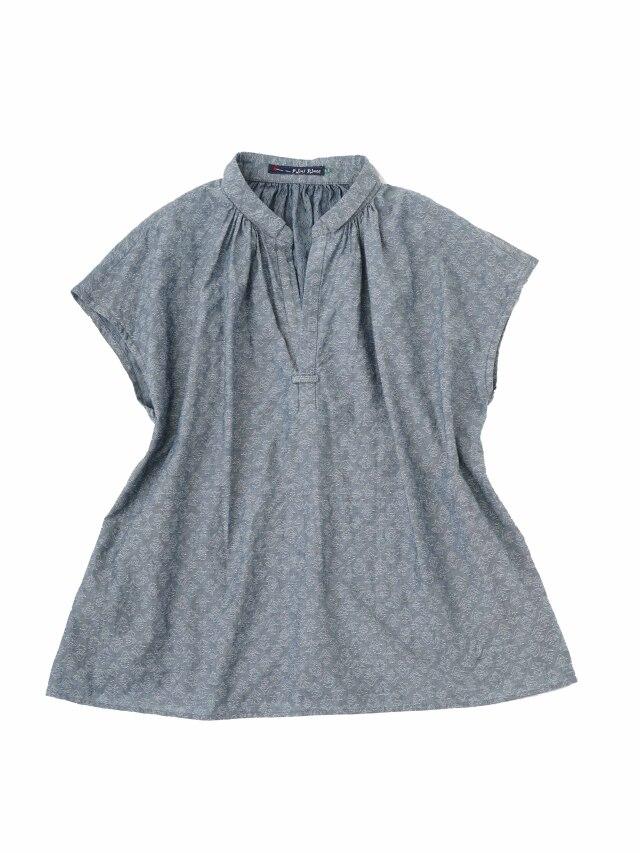 60/ーインディゴJQ藍更紗柄ちび襟シャツ