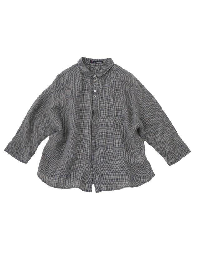 リネンガーゼチドリちび衿ドルマンシャツ