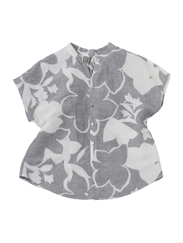 リネンコットン絣橘柄スタンド衿ショート袖シャツ