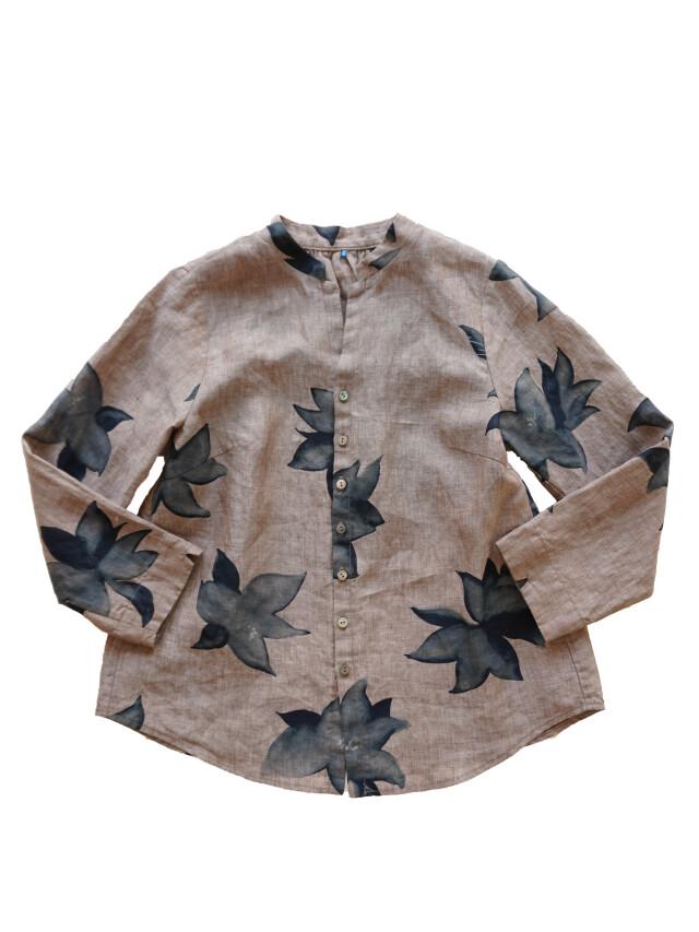 リネンシャンブレー蓼藍柄7分袖シャツ