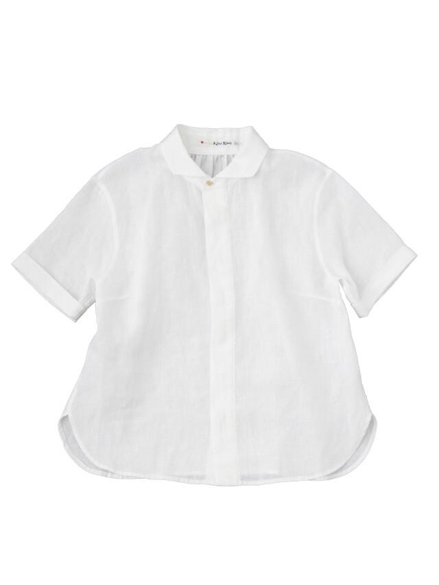 60/リネン5分袖ウィング衿シャツ