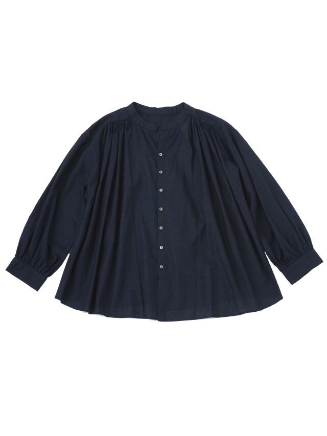 PP38.5インディゴガーゼスタンド襟ギャザーシャツ