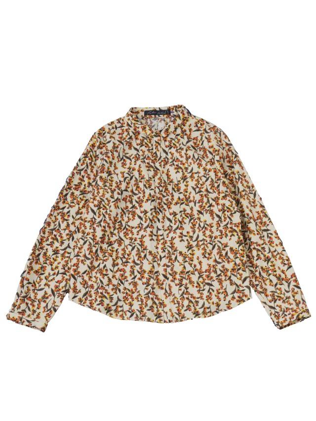 コットンビエラ霜柱柄ちび襟シャツ