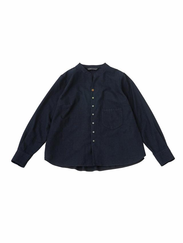 16/インディゴ平織スタンド襟ワークシャツ