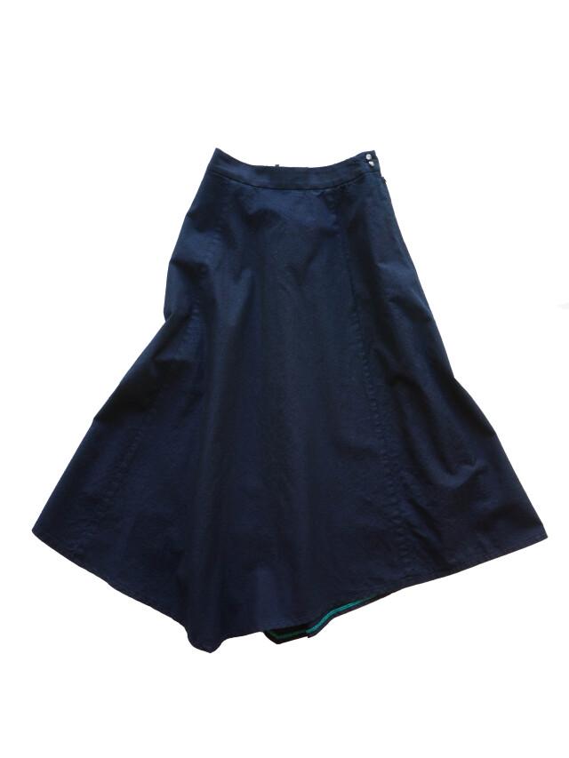 インディゴ平織り変形ヘムスカート