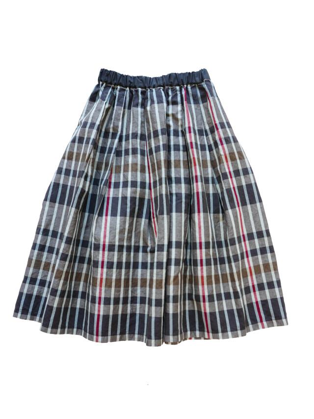 コットンリネン春格子柄タックギャザースカート